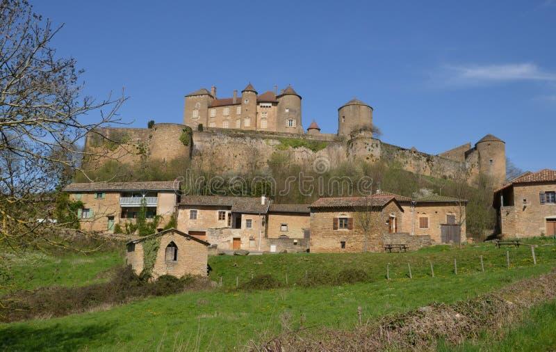 Frankrike pittoresk slott av Berze le Chatel i bourgogne arkivfoton