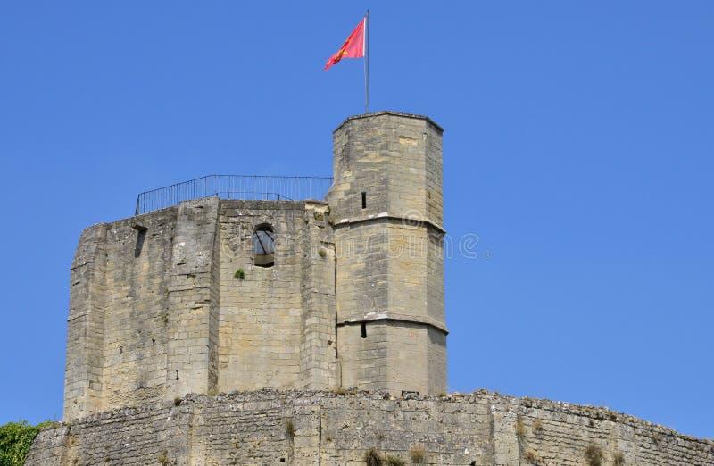 Frankrike pittoresk slott av Gisors i Normandie arkivfoton