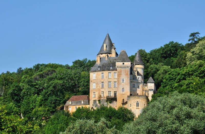 Frankrike pittoreska Chateaux de la Rouge i Saint Cyprien royaltyfri fotografi