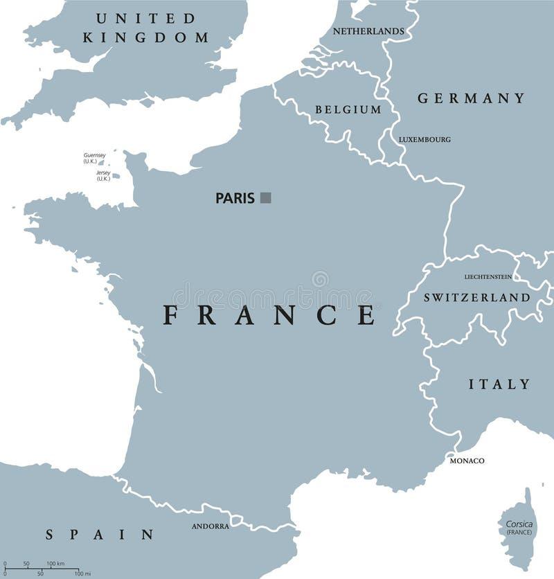 Frankrike politisk översikt royaltyfri illustrationer