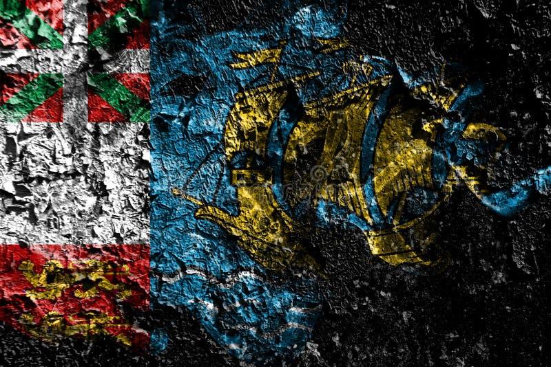 Frankrike - St Pierre-miquelon - Frankrike rökig mystisk flagga på den gamla smutsiga väggbakgrunden vektor illustrationer