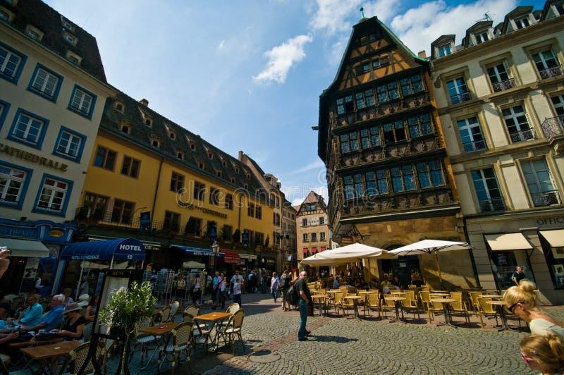 Frankrike Strasborg stads- arkitektur i sommar royaltyfria foton