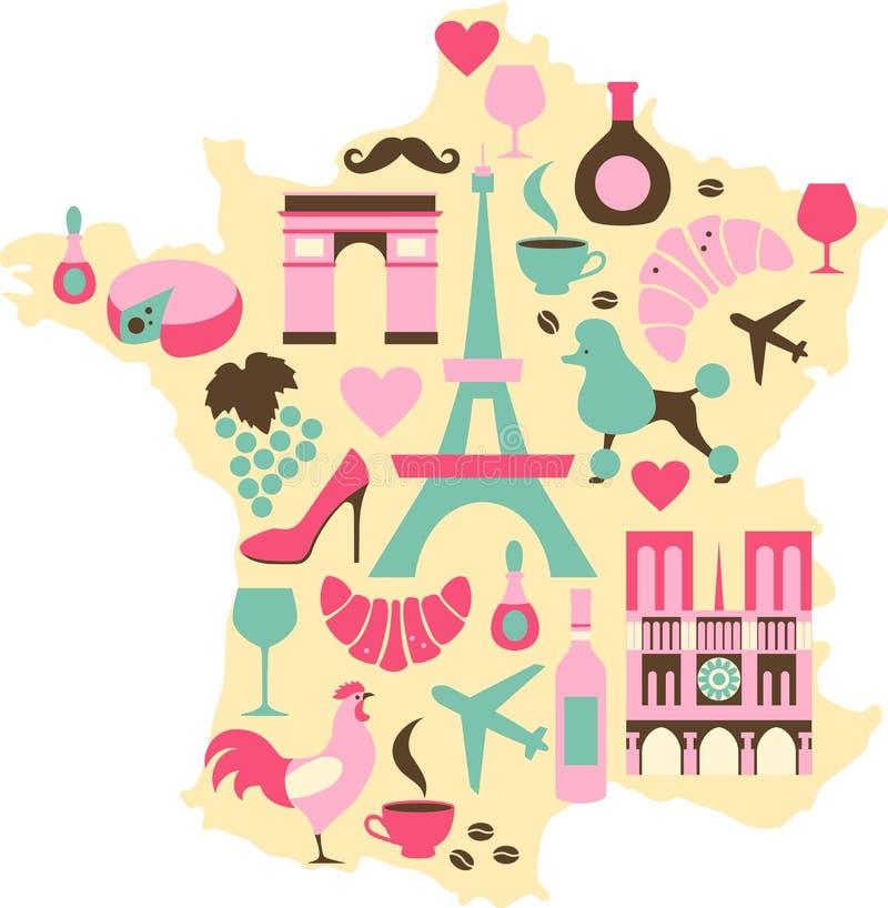 Frankrike symboler royaltyfri illustrationer