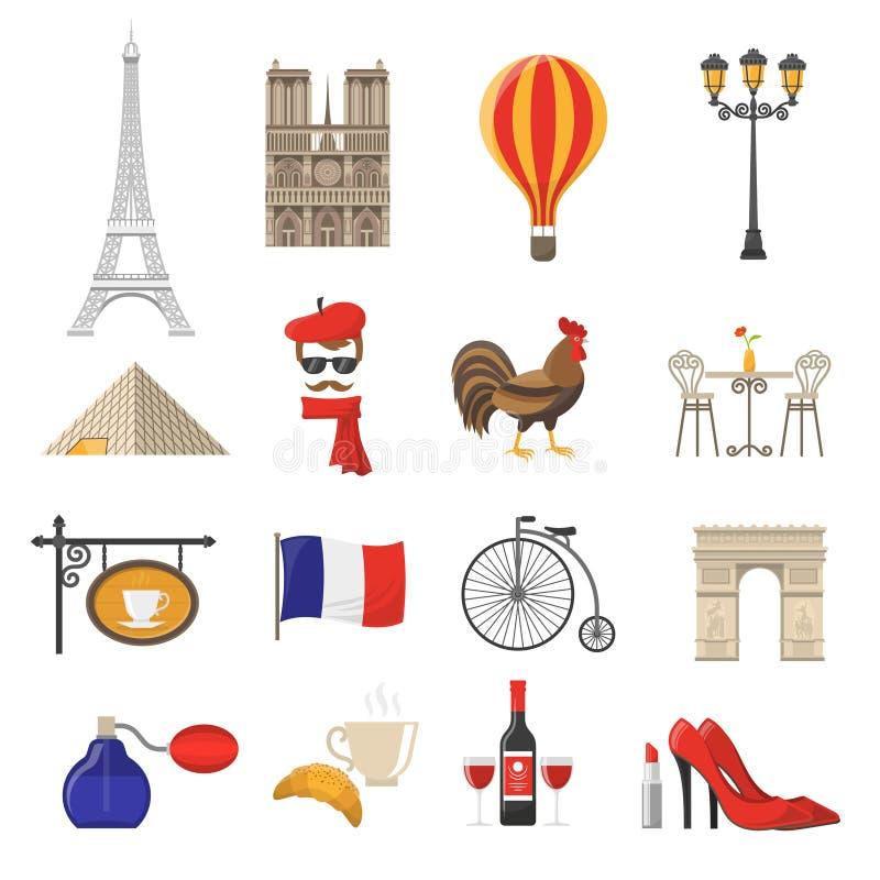 Frankrike symbolsuppsättning vektor illustrationer