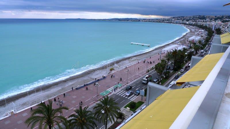 Frankrike trevlig semesterortstrand och kustlinjefoto arkivfoto