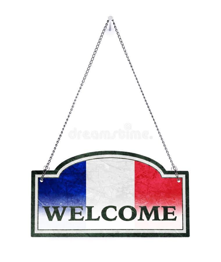 Frankrike välkomnar dig! Gammalt isolerat metalltecken vektor illustrationer