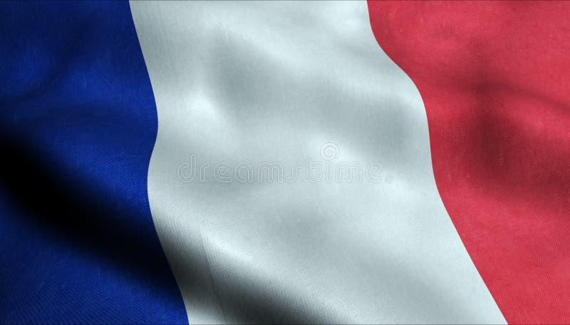 Frankrike vinkande flagga i 3D vektor illustrationer