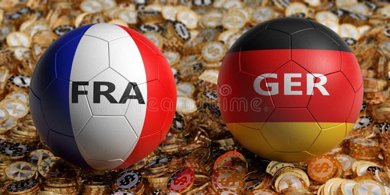 Frankrike vs Tysklandfotbollsmatch - fotbollbollar i Frankrike och Tyskland nationella färger på en säng av guld- dollarmynt royaltyfri fotografi