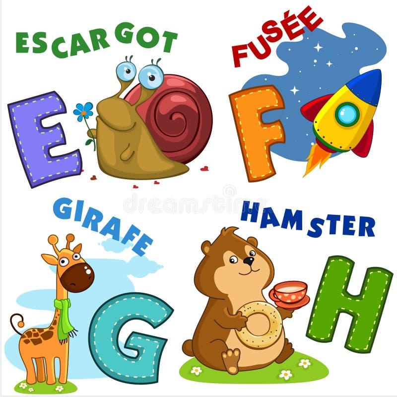 Frans alfabetdeel 2 stock illustratie
