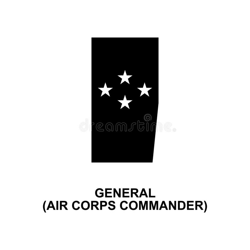 Frans algemeen de bevelhebbers militair rangen van luchtkorpsen en insignes glyph pictogram royalty-vrije illustratie