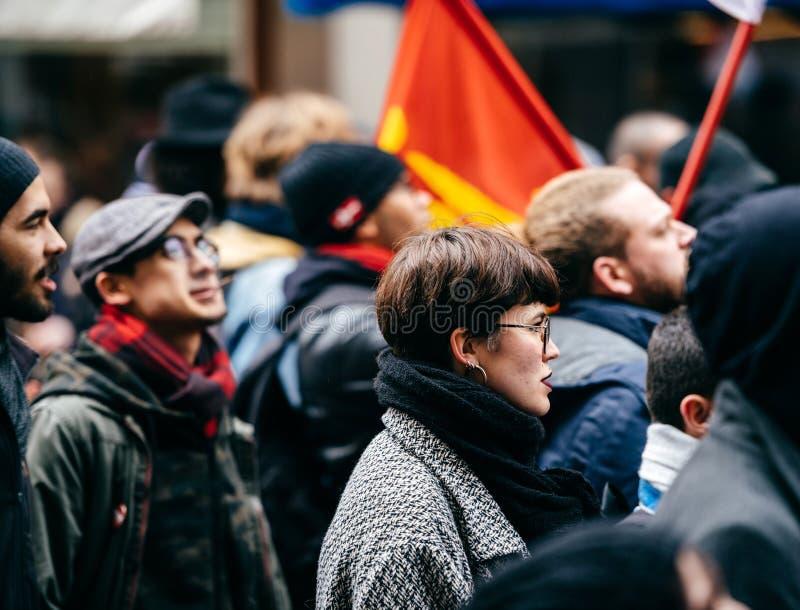 Frans de overheidskoord van protestmacron van hervormingen royalty-vrije stock foto