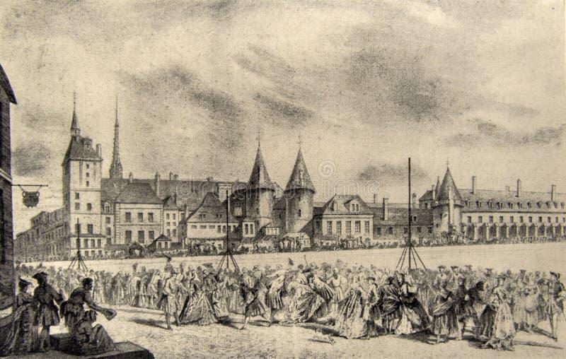 Frans gerechtsgebouw in de 18de eeuw royalty-vrije illustratie