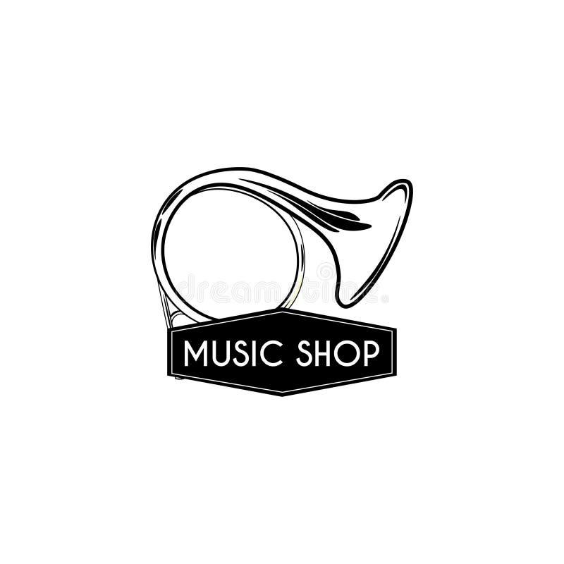 Frans Hoornpictogram Het etiket van het de winkelembleem van de muziekopslag Vector vector illustratie