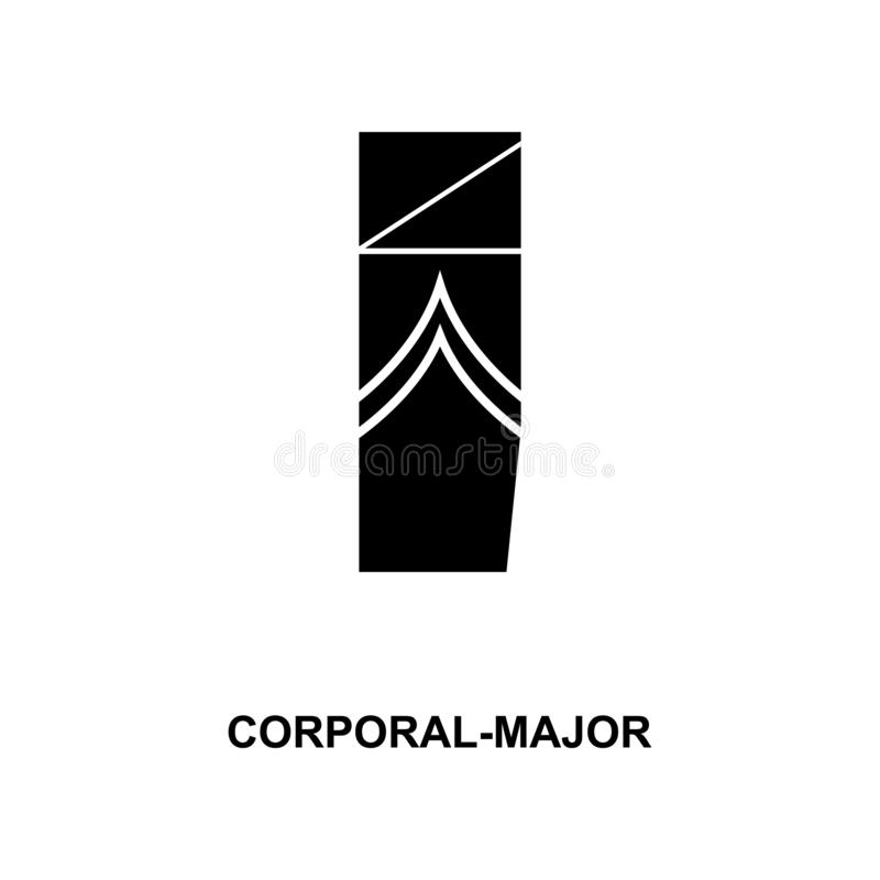 Frans lichamelijk belangrijk militair rangen en insignes glyph pictogram royalty-vrije illustratie