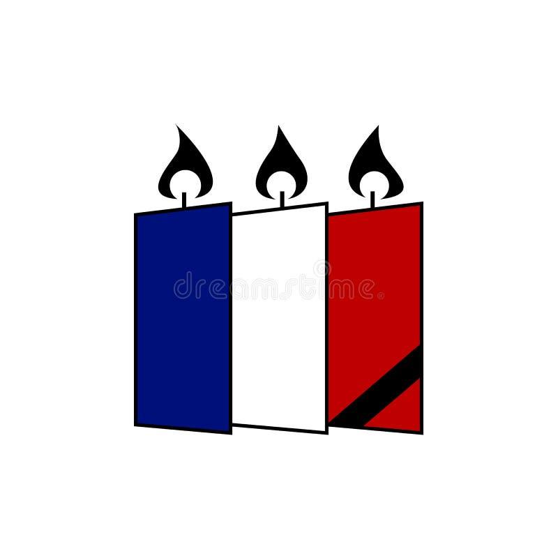 Frans nationaal tragediesymbool Brandende kaarsen in Franse vlagkleuren stock afbeelding
