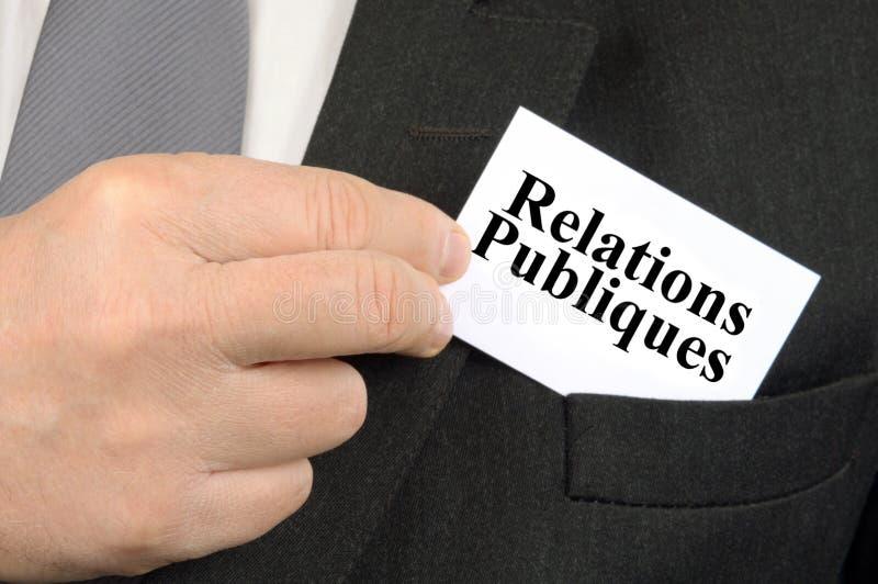Frans public relationsadreskaartje stock fotografie