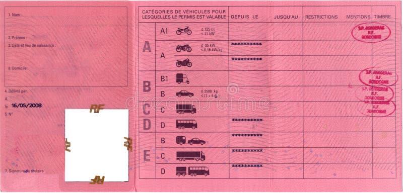 Frans rijbewijs stock fotografie