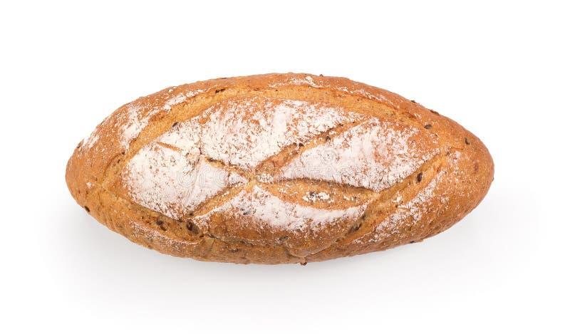 Frans rond die brood op witte achtergrond wordt geïsoleerd stock foto