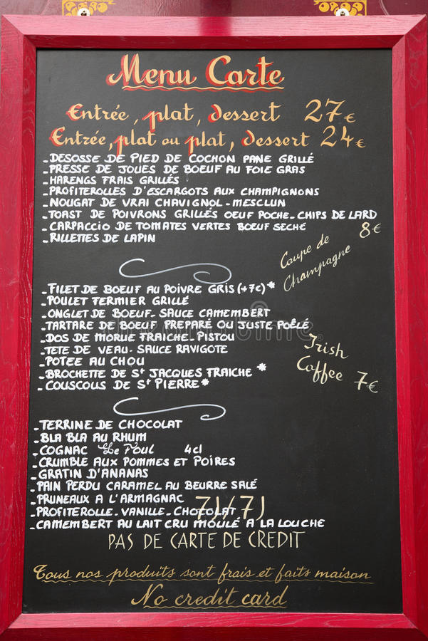 Frans taalmenu, Parijs, Frankrijk stock afbeeldingen