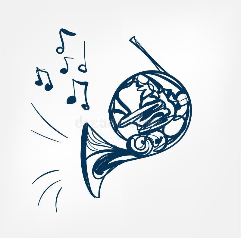 Frans van het de lijnontwerp van de hoornschets de muziekinstrument royalty-vrije illustratie