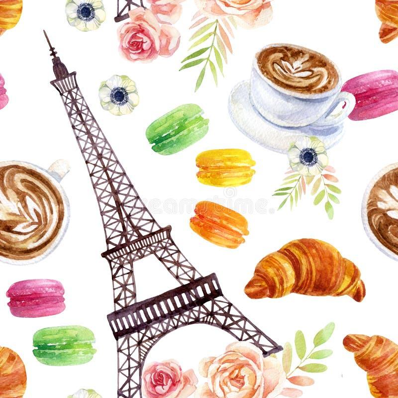 Frans waterverf naadloos patroon royalty-vrije illustratie