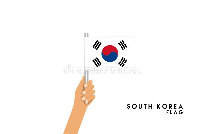 Vector cartoon illustration of human hands hold South Korea flag royalty free illustration