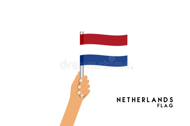 Vector cartoon illustration of human hands hold Netherlands flag. Isolated object on white background stock illustration