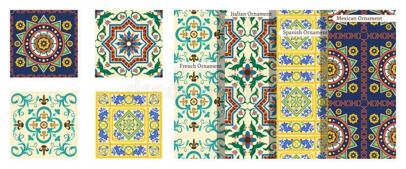 Franse achtergrond, Mexicaans patroon, Italiaanse ornamenten, kleurrijk Spaans decor royalty-vrije illustratie