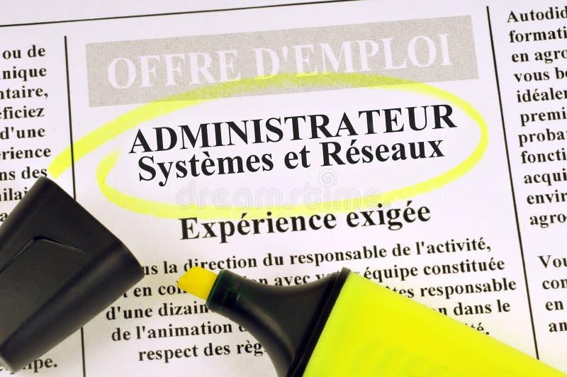 Franse baanaanbieding van systemen en netwerkenbeheerder royalty-vrije stock foto's