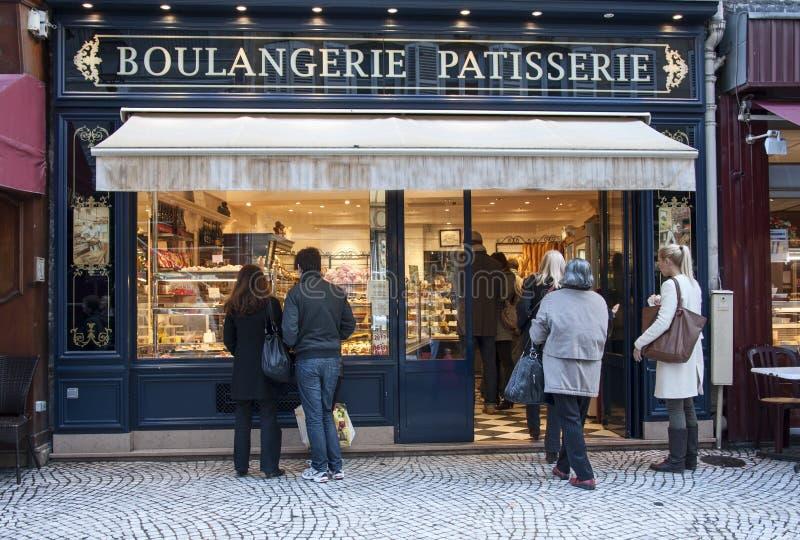 Franse bakkerij stock foto's