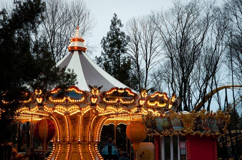 Franse carrousel in het park royalty-vrije stock foto's