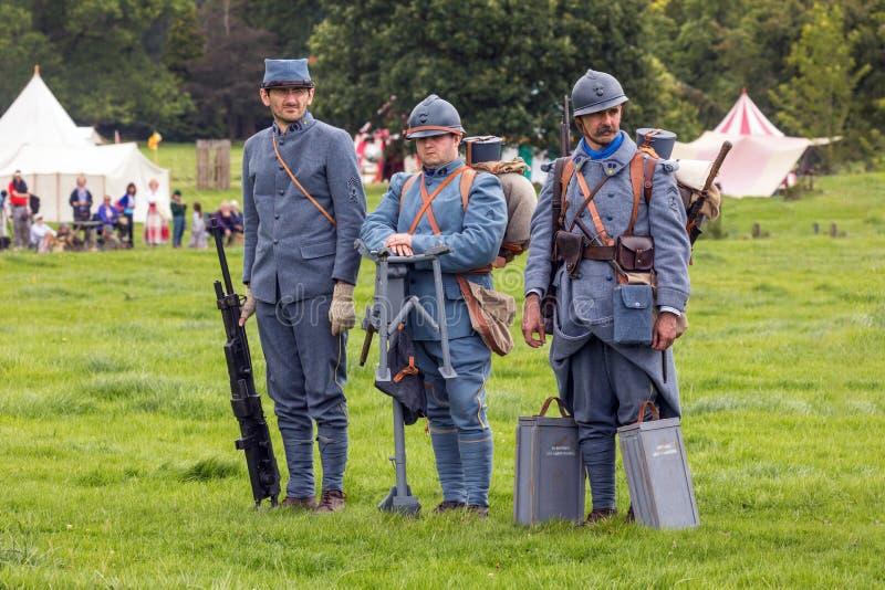 Franse Infanteriemilitairen van WW1 stock foto's