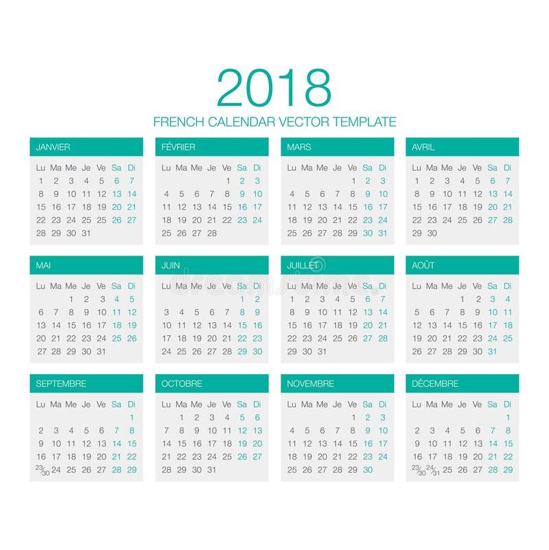 Franse Kalendervector 2018 royalty-vrije stock afbeeldingen