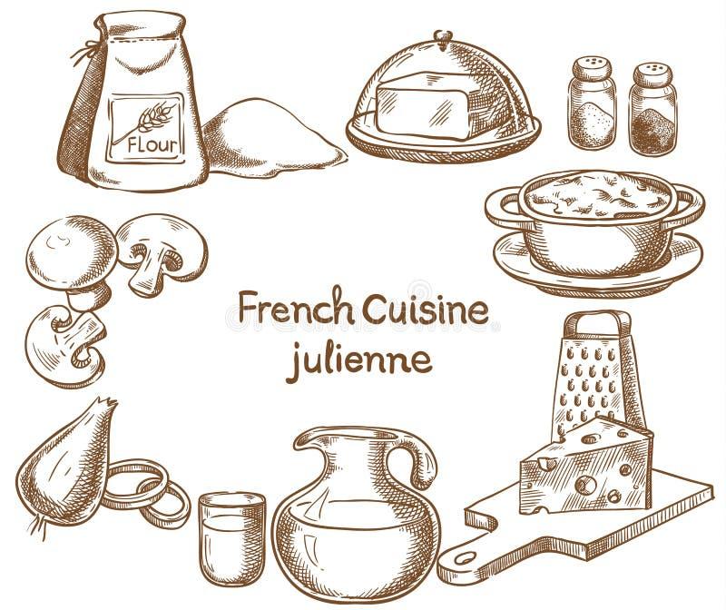 Franse keuken, julienne, ingrediënten vector illustratie