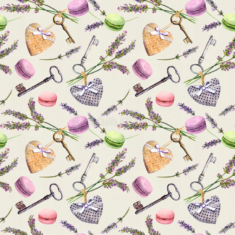 Franse landelijke achtergrond - de lavendel bloeit, makaroncakes, uitstekende sleutels, textielharten Naadloos patroon watercolor stock fotografie