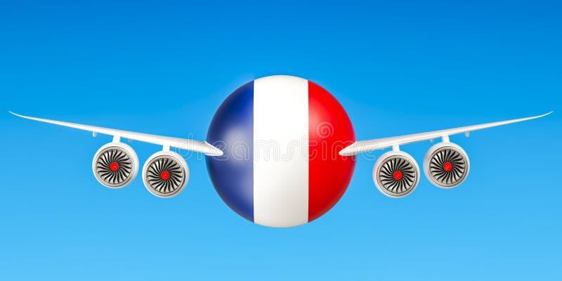 Franse luchtvaartlijnen en het vliegen ` s, vluchten aan het concept van Frankrijk 3d trek uit stock illustratie