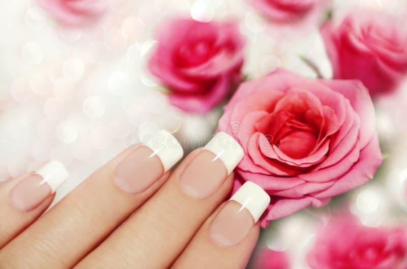 Franse manicure. royalty-vrije stock afbeelding