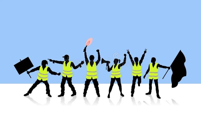 Franse mensen die de gasprijzen met gele vesten protesteren vector illustratie