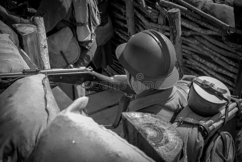 Franse militair 1918 in de geul royalty-vrije stock foto
