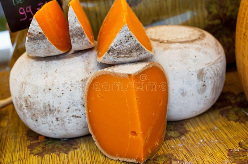 Franse mimolettekaas royalty-vrije stock foto's