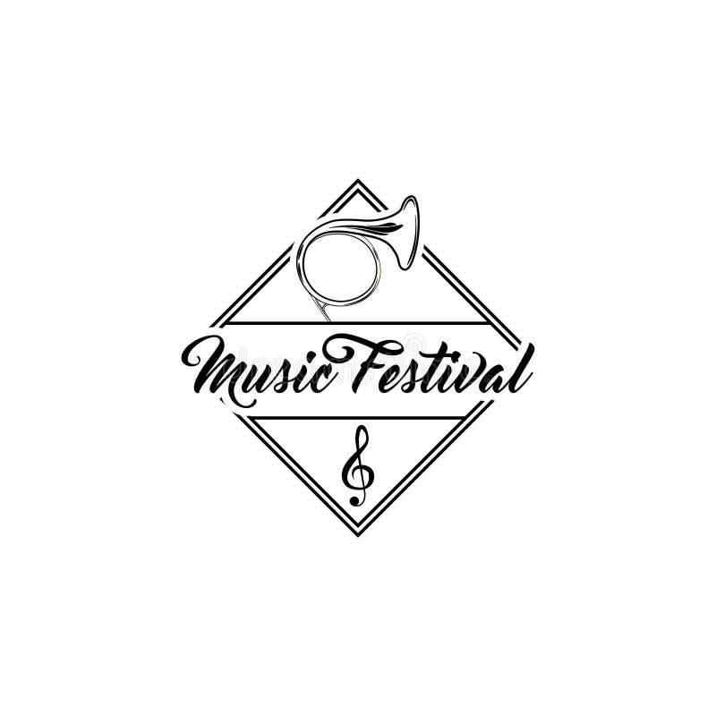 Franse Muzikale Hoorn Het embleemetiket van het muziekfestival G-sleutel Tuba Icon Vector vector illustratie