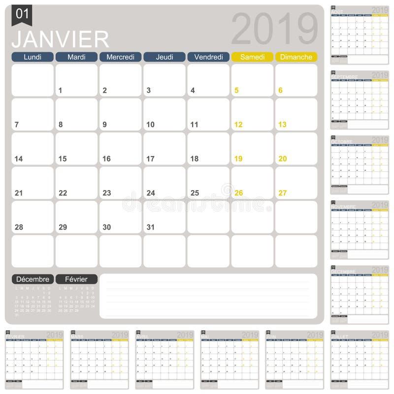 Franse planningskalender 2019 stock illustratie