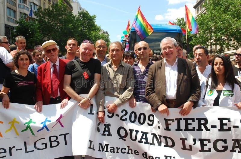 Franse politici bij de Vrolijke Trots 2009 van Parijs royalty-vrije stock foto's