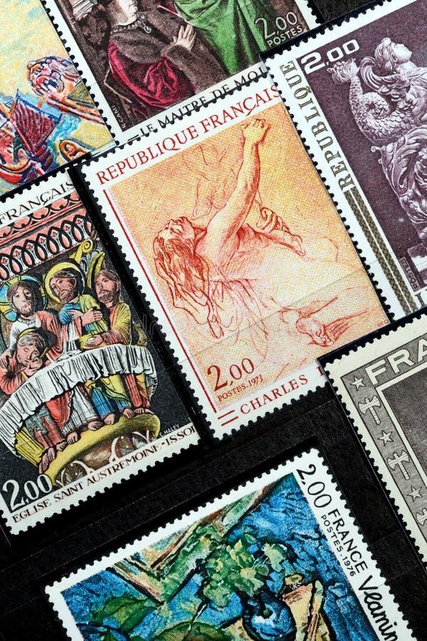 Franse postzegels in het album stock afbeelding