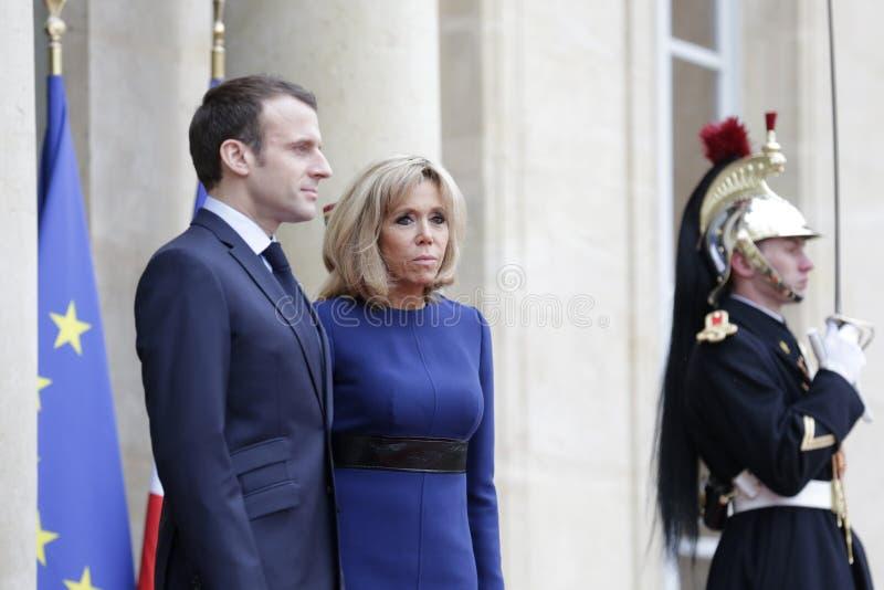 Franse President Macron en Presidentsvrouw Brigitte stock fotografie