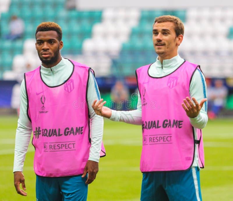 Franse professionele voetballer Antoine Griezmann R stock foto