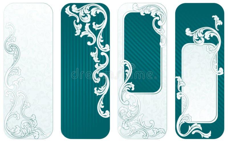 Franse retro verticale banners in groen royalty-vrije illustratie