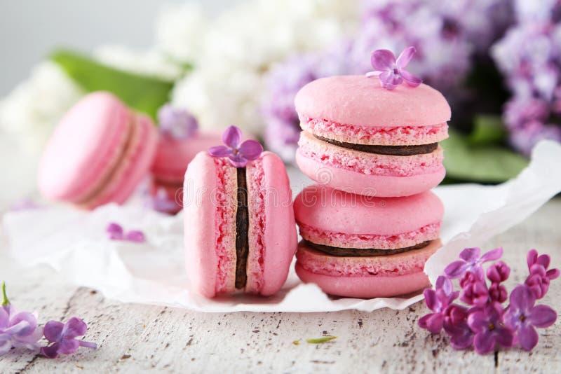 Franse roze macarons stock afbeelding