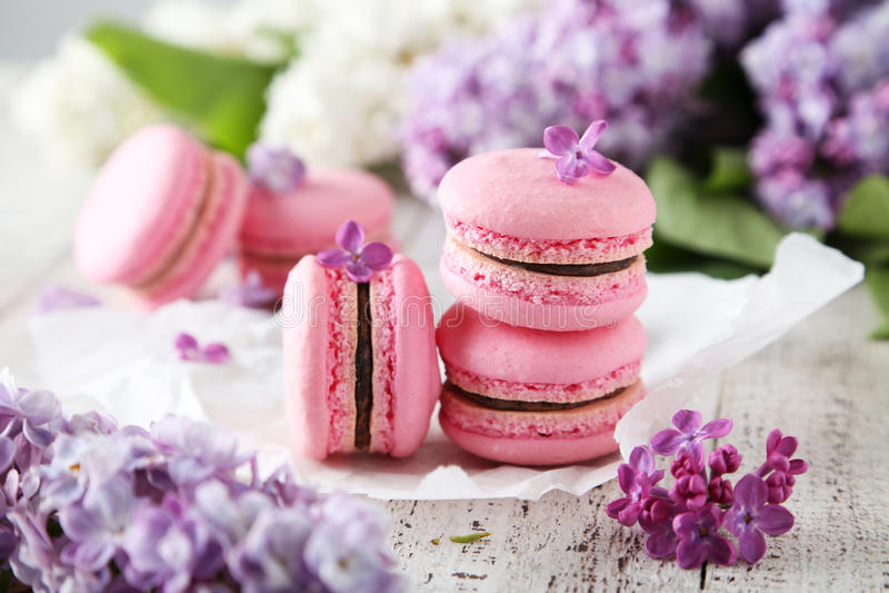 Franse roze macarons royalty-vrije stock foto