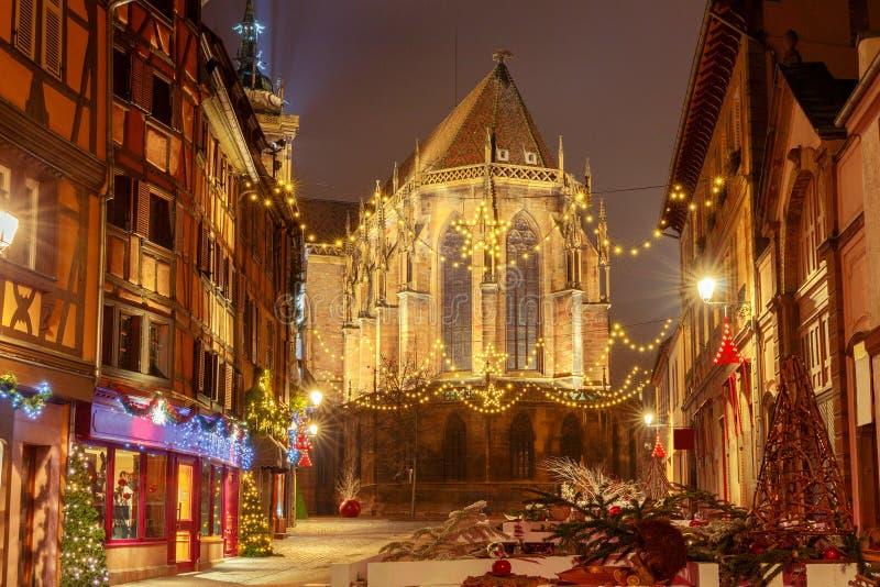 Franse stad Colmar op Kerstavond stock afbeeldingen